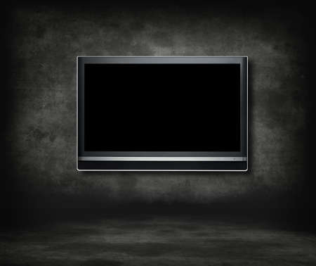 Gothic room television concept.Wide screen television in a gothic room.