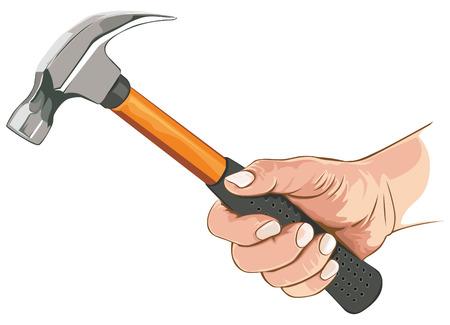 Illustration pour Hand with claw hammer - image libre de droit