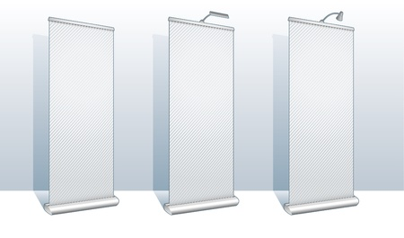 Roll up banner display set for design and presentation purposes