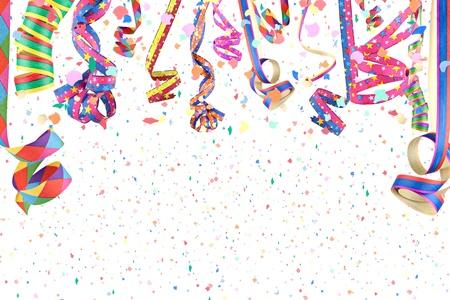 streamers in a rain of confetti