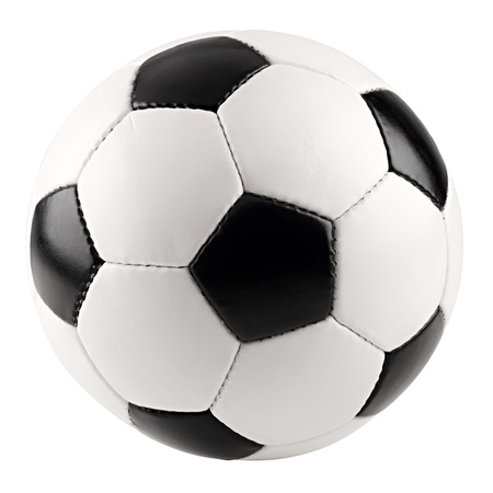 a classic black white soccer ball on white background