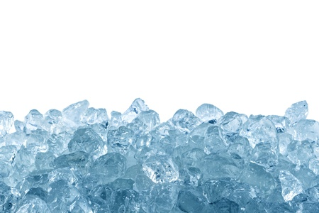crushed ice in front of white background