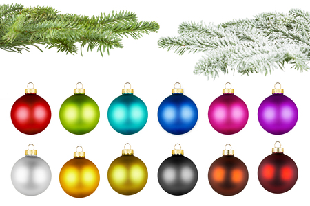 set  of colorfull christmas balls on a fir branch