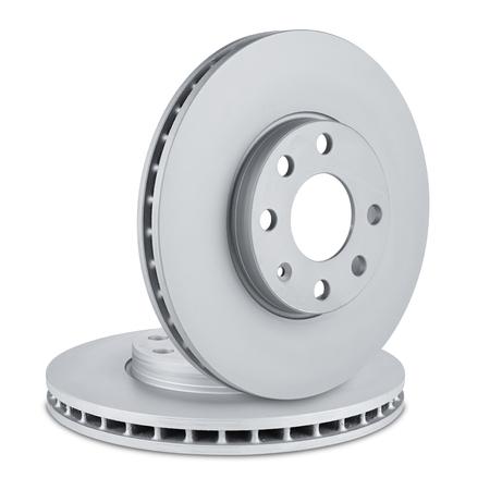 pair of car brake discs on white background