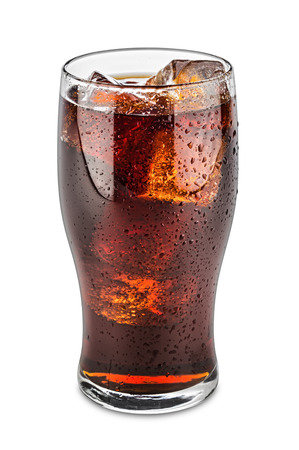 glas of cola on white background