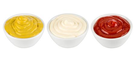 ketchup, mustard and mayonnaise in ceramic bowles