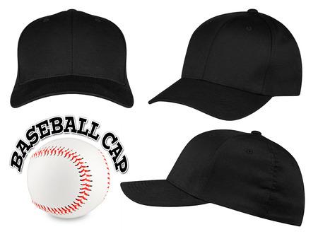 Foto de Set of black baseball caps with baseball - Imagen libre de derechos