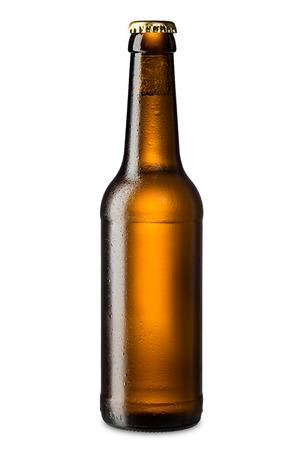 Photo pour ice cold brown beer bottle - image libre de droit