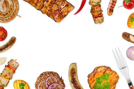 grilled food on white background