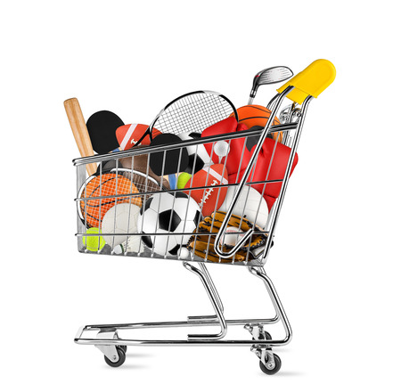 shopping cart filled with sports equipment isolated on white background