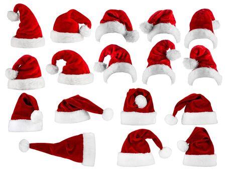 Photo pour large collection of red white santa hats - image libre de droit