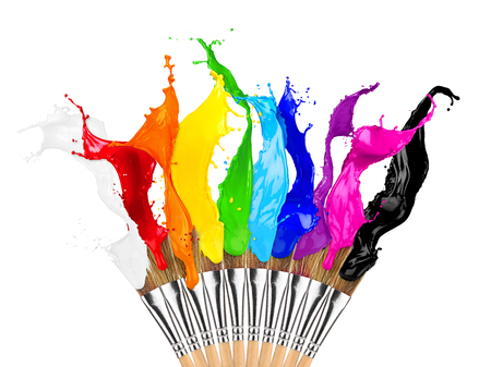 colorful color splashes paintbrush row isolated on white background