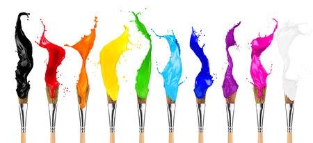 Foto de colorful color splashes paintbrush row isolated on white background - Imagen libre de derechos