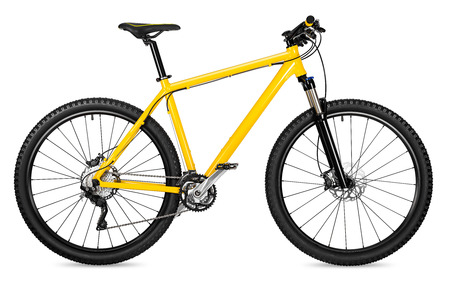 Photo for yellow 29er mountain bike isolated on white background - Royalty Free Image