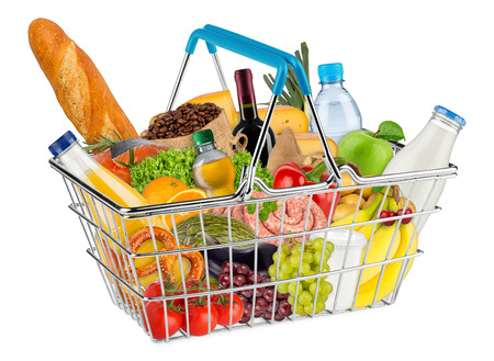 blue shopping basket filled with various food and beverages isolated on white background