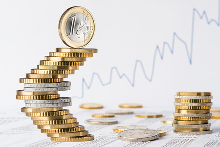Photo pour finance business accounting stock background with stack of euro coins on data sheet - image libre de droit