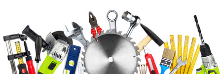 Photo pour DIY tools collage concept with copy space and circular saw blade isolated on white wide panorama background - image libre de droit