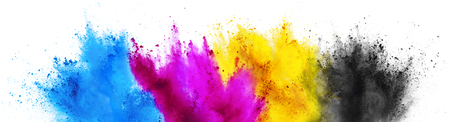 Foto de colorful CMYK cyan magenta yellow key holi paint color powder explosion print concept isolated on white background - Imagen libre de derechos