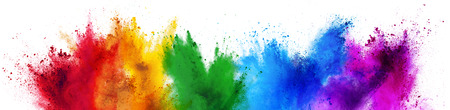 Photo for colorful rainbow holi paint color powder explosion isolated on white wide panorama background - Royalty Free Image