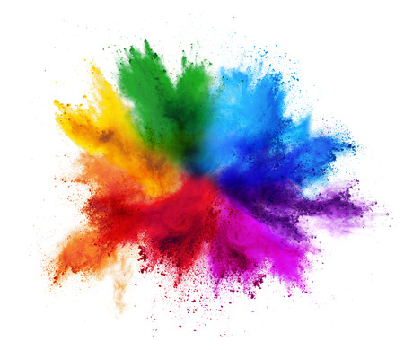 Foto de colorful rainbow holi paint color powder explosion isolated on white background - Imagen libre de derechos