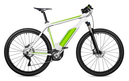 Photo for fantasy fictitious design of an ebike pedelec with battery powered motor bicycle moutainbike. mountain bike ecology modern transport concept isolated on white background - Royalty Free Image