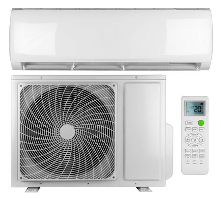 Photo pour Set collection of air conditioner ac inverter heat pump mini split system with indoor outdoor unit and remote control isolated on white background - image libre de droit