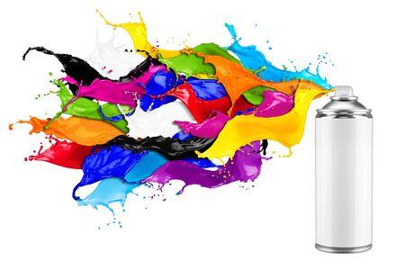 Foto de spray can spraying colorful rainbow paint liquid  color splash explosion isolated on white background. Industry diy paintjob graffiti concept. - Imagen libre de derechos