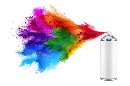 Photo for spray can spraying colorful rainbow holi paint color powder explosion isolated on white background. Industry diy paintjob graffiti concept. - Royalty Free Image