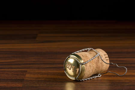 champagne cork in black selective focus
