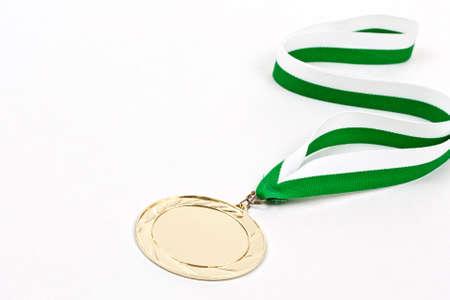 Blank winning medal, in white background