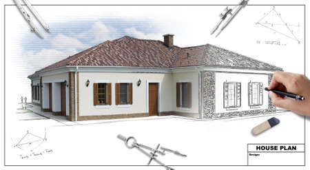 House plan blueprints 2, designer's hand