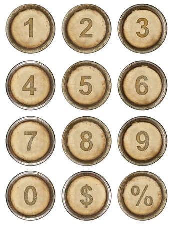 Numbers, grunge typewriter keys in white background