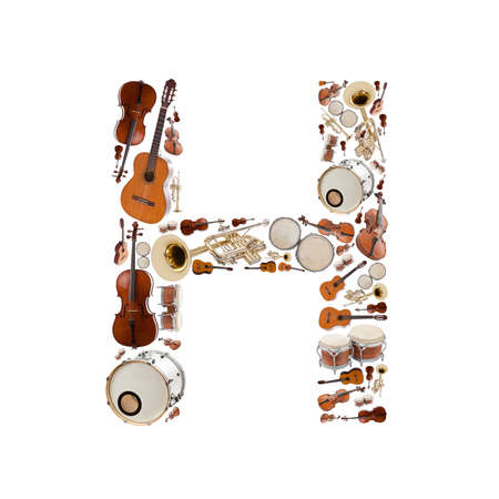 Musical instruments alphabet on white background. Letter H