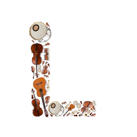 Musical instruments alphabet on white background. Letter L