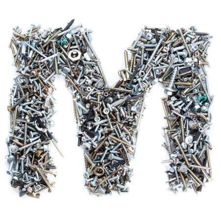 Letter 'M' made of screws isolated in white background