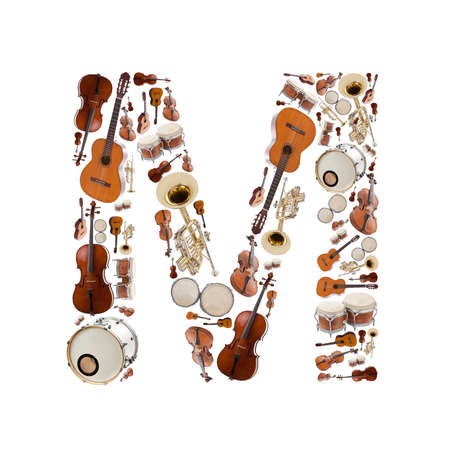 Musical instruments alphabet on white background. Letter M