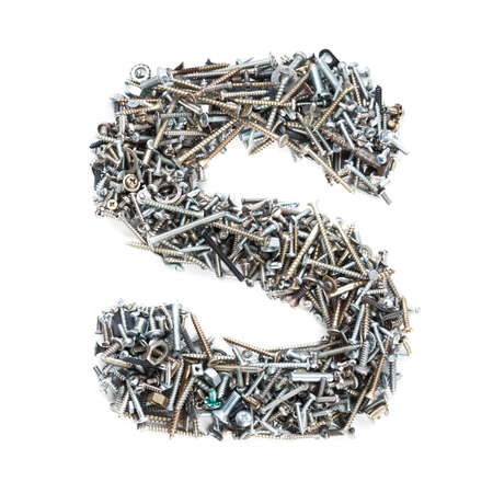 Letter 'S' made of screws isolated in white background