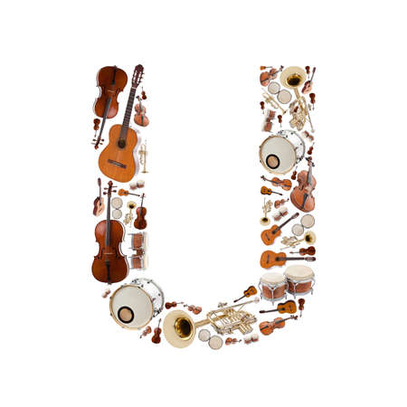 Musical instruments alphabet on white background. Letter U