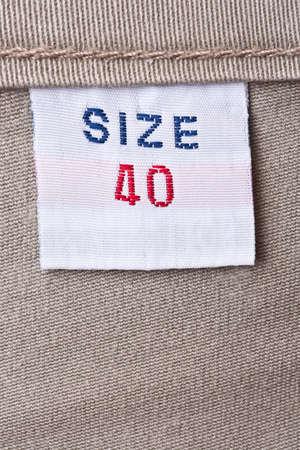 macro of 40 size clothing label
