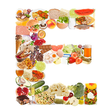 Letter E made of food isolated on white backgroundの写真素材