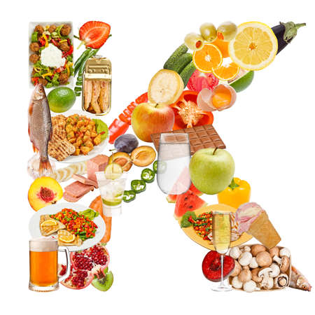 Letter K made of food isolated on white background