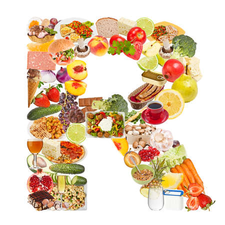Letter R made of food isolated on white background