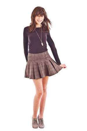 Girl in skirt isolated on white background