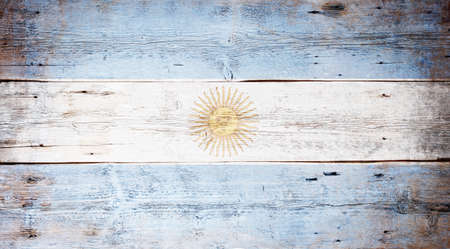 Flag of Argentine painted on grungy wood plank background