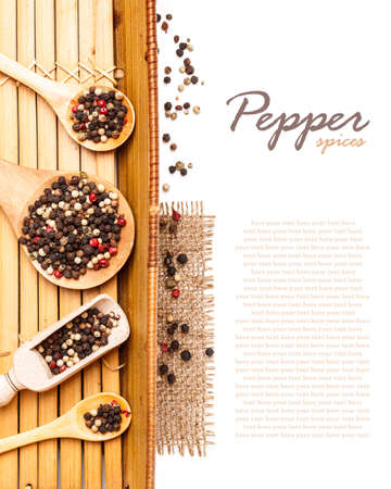 Mix peppers in wooden spoon, space for text