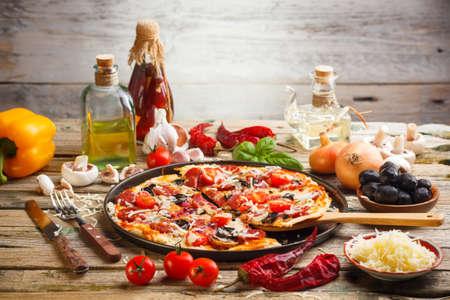 Still life of fresh homemade pizza