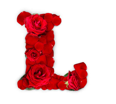 Letter L made from red roses and petals isolated on a white background