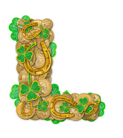 St. Patricks Day holiday letter L made of coins, shamrocks and  horseshoes