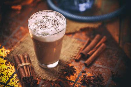 Indian spicy chai tea latte