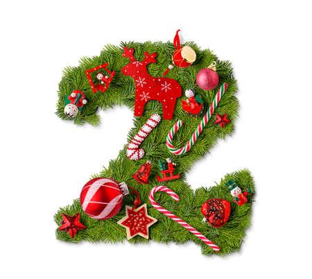Foto de Number 2. Christmas tree decoration on a white background - Imagen libre de derechos